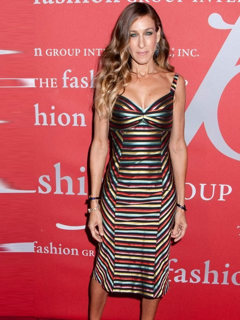 "<p><a href=""http://www.elleuk.com/star-style/celebrity-style-files/sarah-jessica-parker"">Sarah Jessica Parker</a> matches a Spring Summer 13 L'Wren Scott dress with Manolo Blahnik heels and Fred Leighton jewellery at the International Night of the Stars,"