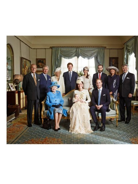 <p>The Royal family with Prince George wearing an outfit made of delicate Honiton lace and white satin by Angela Kelly, an exact replica of the one worn before him by every baby born to the British Royal family since 1841. The Duchess is wearing Alexander