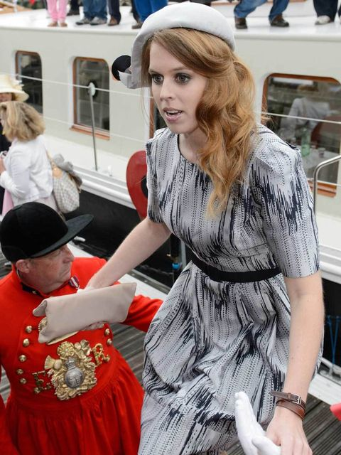 """<p>Princess Beatrice in a Suzannah dress, <a href=""""http://www.elleuk.com/catwalk/designer-a-z/marni/autumn-winter-2012"""">Marni</a> coat and Stephen Jones hat on the Royal Jubilee flotilla during The Queen's Diamond Jubilee celebrations</p>"""