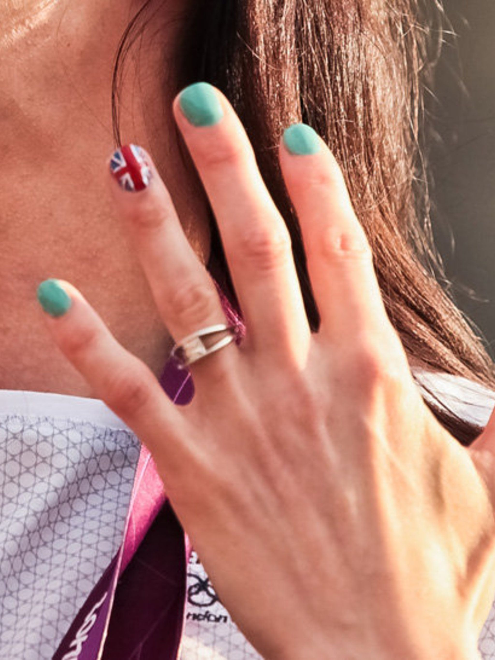 <p>Track cyclist Victoria Pendleton sports a Union Jack ring finger.</p>