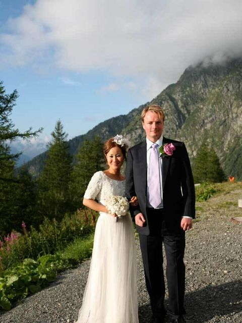<p>Carolyn Asome, deputy Fashion Editor at The Times, in a Elspeth Gibson/Lisa Redman dress on her wedding day in Chamonix, France, 2007 </p><p> </p>