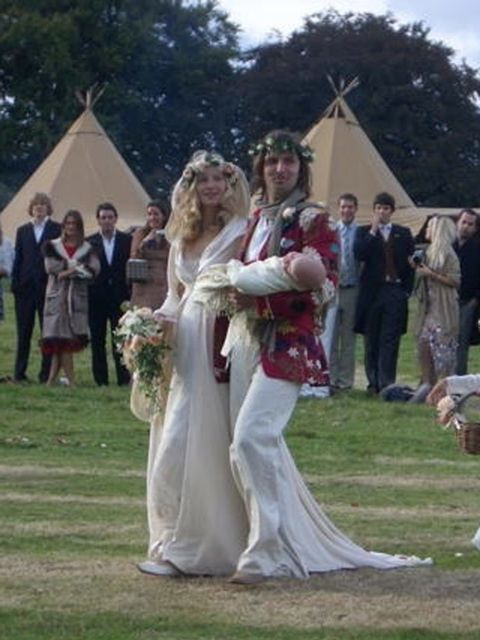 <p>Savannah Miller wears Jan Marie von Giebelhausen at her wedding in Devon, September 2005</p>