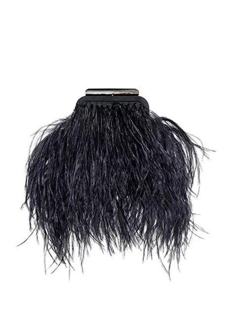 "<p><a href=""http://www.reissonline.com/shop/womens/bags/libby/black/"">Reiss</a> feathered clutch, £95</p>"