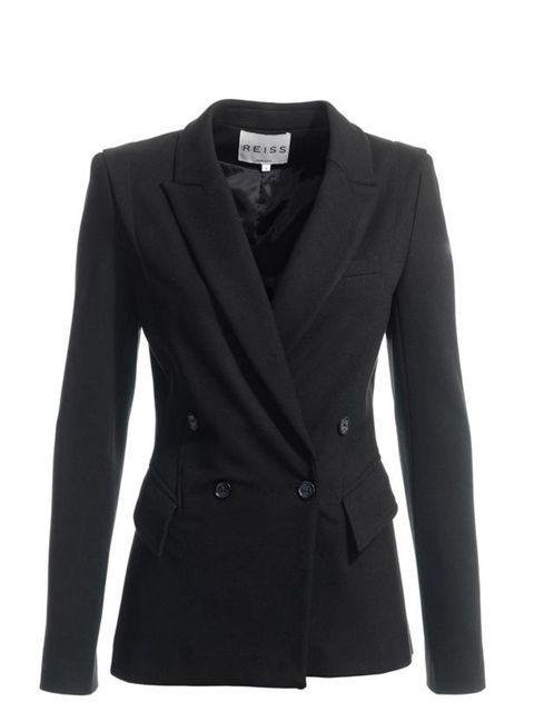 "<p><a href=""http://www.reissonline.com/shop/womens/formal_jackets/josie/black/"">Reiss</a> black tux jacket, £189</p>"