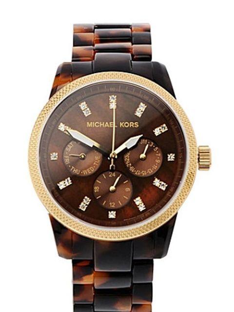 "<p>Michael Kors tortoiseshell watch, £169, at <a href=""http://www.selfridges.com/en/Accessories/Tortoise-shell-chronograph-watch_759-10001-MK5038/"">Selfridges</a> </p>"