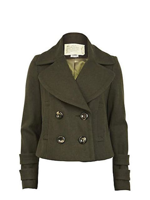 "<p>The military trend is such a classic that you'll wear this coat for seasons to come. <a href=""http://www.riverisland.com/Online/women/coats--jackets/coats/khaki-short-length-coat-594958"">River Island</a> military coat, £74.99 </p>"