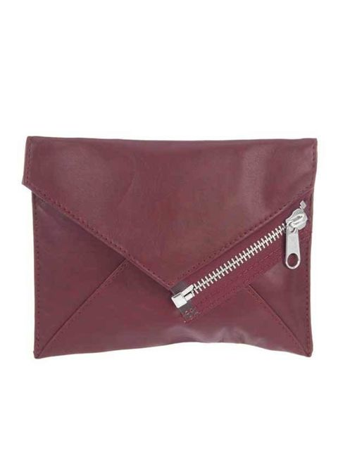 """<p> </p><p>Add a purist edge to your winter wardrobe with a leather envelope clutch that will add elegance to any outfit, day or night... Cheap Monday red leather envelope cluth, £23, at <a href=""""http://www.no-one.co.uk/shopping/women/item10061502.aspx"""">N"""