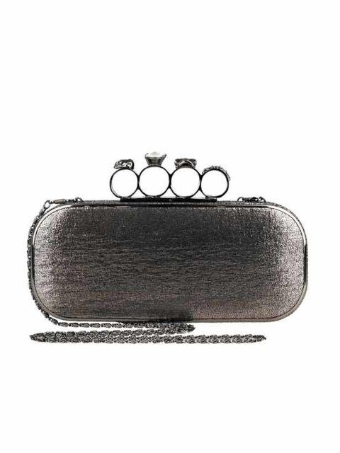 "<p><a href=""http://www.riverisland.com/Online/women/bags--purses/handbags--clutch-bags/silver-ring-handle-box-clutch-593179"">River Island</a> knuckle duster clutch, £29.99</p>"