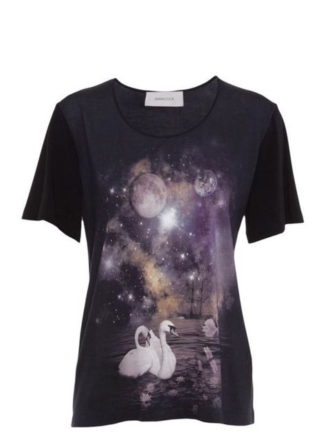 """<p> </p><p>This swan printed T-shirt is far too magical for the day - dress up with statement jewels and a sequin mini for an alternative evening look. Emma Cook swan print T-shirt, £160, at <a href=""""http://www.harveynichols.com/womens/categories/designer"""