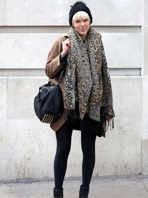 <p>Photo by Silvia Olsen.Anna, 31, Buyer. Topshop jacket, Urban Outfitters hat and scarf, Alexander Wang bag.</p>