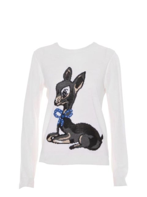 "<p>Paul & Joe baby deer knit, £165, at <a href=""http://www.harveynichols.com/womens/categories/designer-knitwear/jumpers/s334252-fanfaron-baby-deer-knit.html?colour=CREAM+AND+OTHER"">Harvey Nichols</a> </p>"
