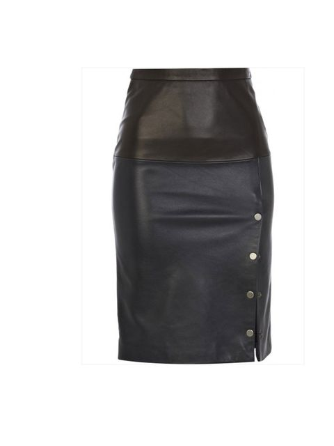 <p>Eudon Choi for River Island black and navy leather skirt, £120.</p>