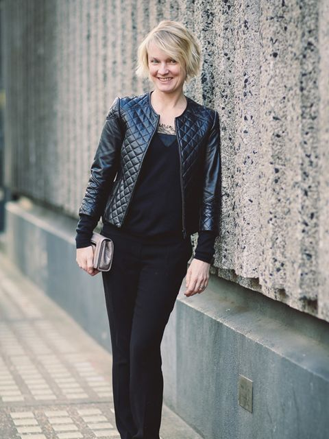 <p>Lorraine Candy - Editor-in-Chief.</p>  <p>Harrods leather jacket, Joseph jumper, DKNY lace camisole, Joseph trousers, Jimmy Choo clutch and Carvela by Kurt Geiger shoes.</p>