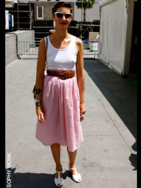 <p>Alejandra, 28, graphic designer wearing vest, skirt, belt and jewellery all vintage</p>