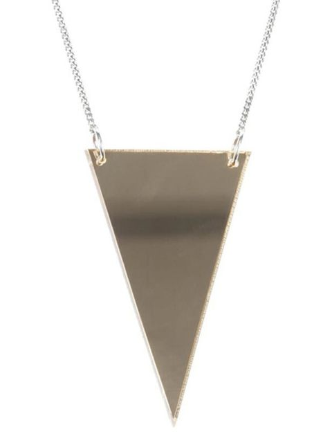 """<p> </p><p> </p><p>Worn with a chunky knit, plain T-shirt or LBD, this sleek geometric necklace will give a subtle, luxe edge to just about anything. Lucy Peacock triangular newcklace, £52, at <a href=""""http://www.no-one.co.uk/shopping/women/search/schid-6"""