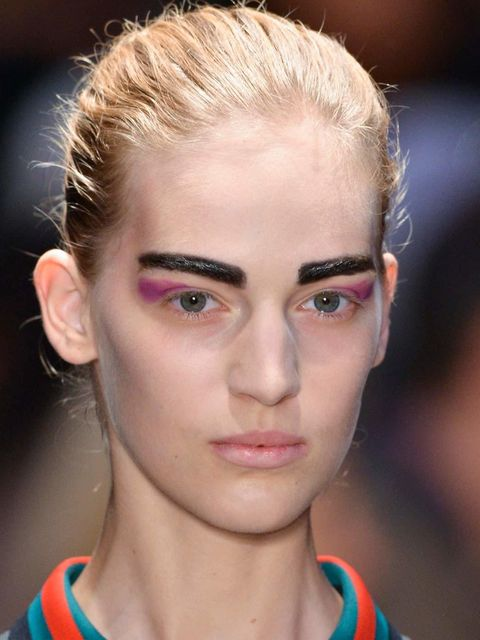 "<p>Totally scrubbed, barely-there skin allows these boyish <a href=""http://www.elleuk.com/beauty/make-up-skin/make-up-features/best-spring-summer-2014-beauty-paris-fashion-week"">brows</a> to do the talking. Yes they may be totally exaggerated and OTT but"