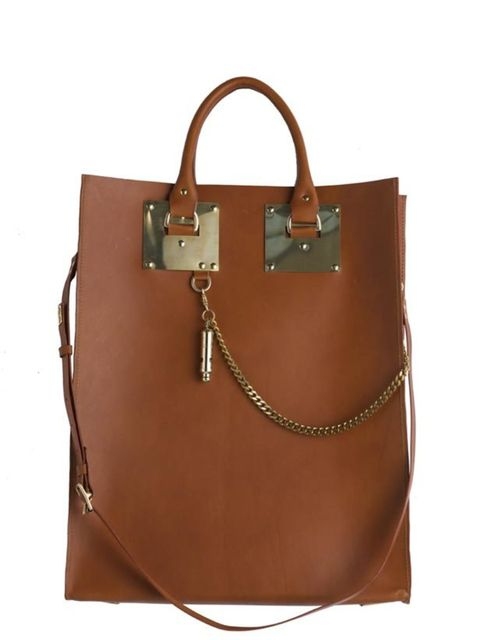 "<p><a href=""http://www.sophiehulme.com/"">Sophie Hulme</a> leather tote, £350</p>"