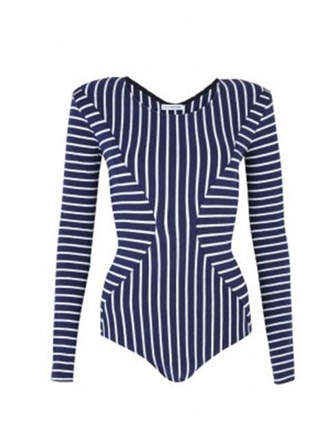 "<p>Body Editions bodysuit, £200, <a href=""http://www.my-wardrobe.com/body-editions/breton-navy-stripe-body-suit-742425"">my-wardrobe.com</a> </p>"