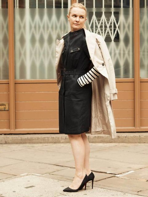 <p>Prada coat, Belstaff dress, Theory top, Christian Louboutin shoes.Photo by Phill Taylor. </p>