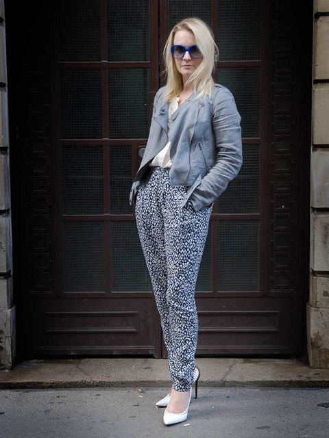 <p>DKNY cotton biker jacket, Vanessa Bruno blouse, Topshop trousers, jw Anderson for Aldo shoes.</p><p>Photo by Tim Knowles</p>