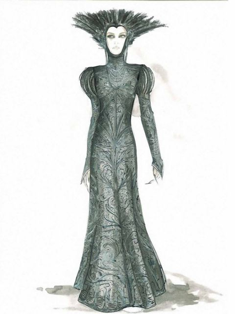 <p>Colleen Atwood's sketch of a costume for evil queen Ravenna, played by Charlize Theron</p>