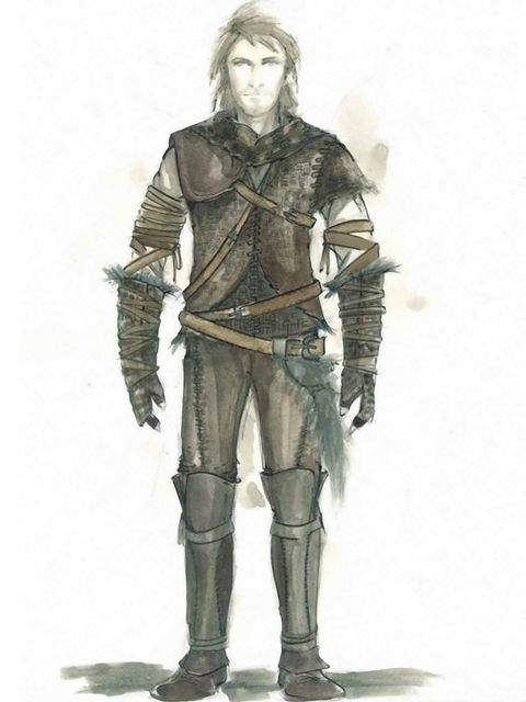 <p>A costume sketch for Chris Hemsworth as the Huntsman</p>