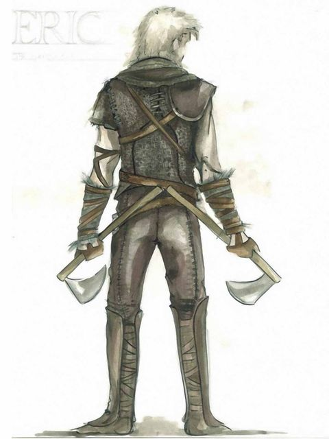 <p>The back of the Huntsman's costume as sketched by Colleen Atwood</p>