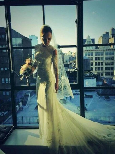 "<p><a href=""http://www.elleuk.com/elle-style-awards/news/christina-ricci-s-good-vintage"">Christina Ricci</a> wears a custom-made <a href=""http://www.elleuk.com/catwalk/designer-a-z/givenchy/spring-summer-2014"">Givenchy</a> dress for her wedding, September"