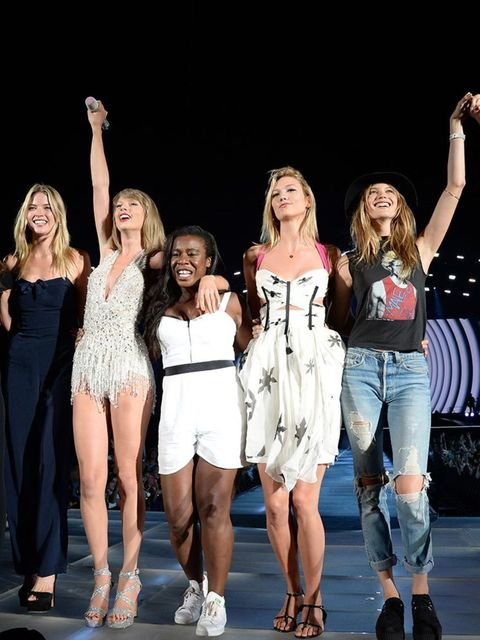 <p>...And so, she was joined on stage by BFFs Candice Swanepoel, Lily Aldridge, Uzo Aduba, Karlie Kloss, Behati Prinsloo and Gigi Hadid.</p>