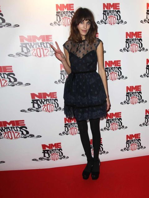"""<p><a href=""""http://www.elleuk.com/star-style/celebrity-style-files/alexa-chung"""">Alexa Chung</a> at the NME Awards 2012 in London</p>"""