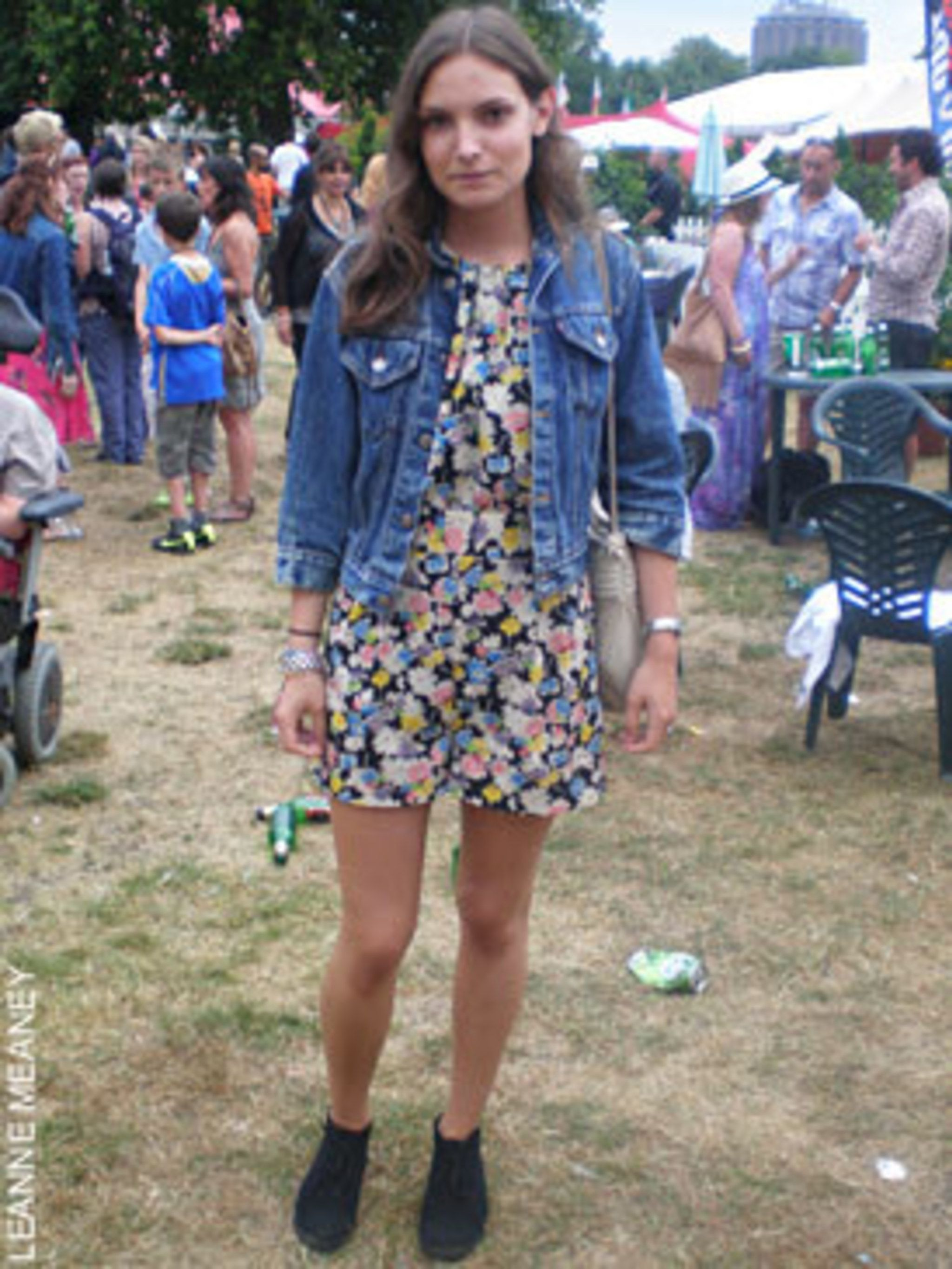<p>Lola Lalic, 23 works in retail at Margaret Howell, wearing a Topshop jumpsuit with a vintage denim jacket and vintage bag with shoes from Topshop</p>