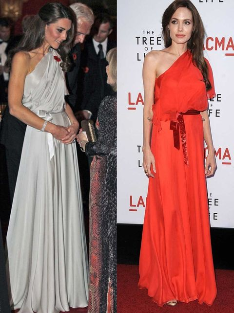 <p>The Duchess of Cambridge and Angelina Jolie in similar Jenny Packham gowns.</p>