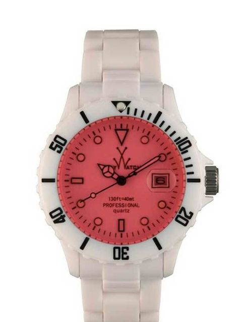 "<p><a href=""http://www.toywatchwatches.co.uk/pink-dial-time-only-fluo-mood-toywatch-fl01whpk.html"">Toywatch</a> pink dial time only fluo watch, £124.99</p>"
