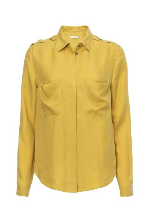 "<p><a href=""http://www.whistles.co.uk/fcp/categorylist/dept/shop?resetFilters=true"">Whistles</a> mustard silk shirt, £95</p>"