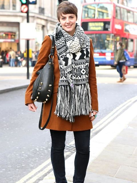 <p>Photo by Anthea Simms.Kira, 24, Product Development. Topshop coat and jeans, River Island scarf and Asos bag.</p>