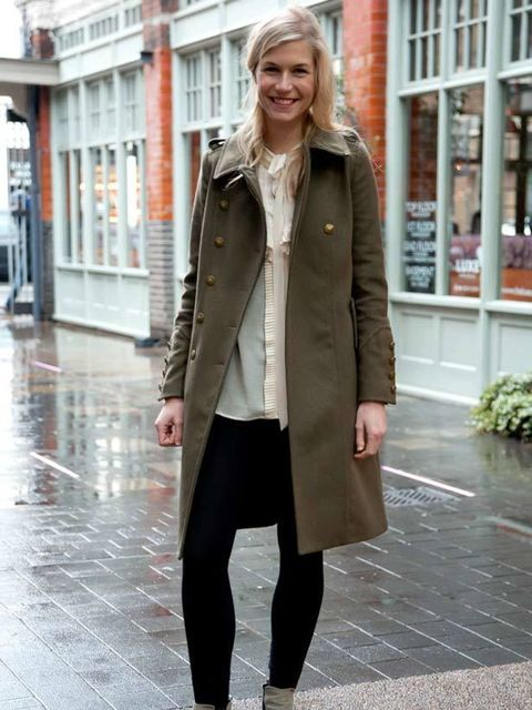 <p>Photo by Kirstin Sinclair @ Anthea Simms.Emma, 26, Advertising Planner. Whistles coat, H&M blouse, Office boots.</p>