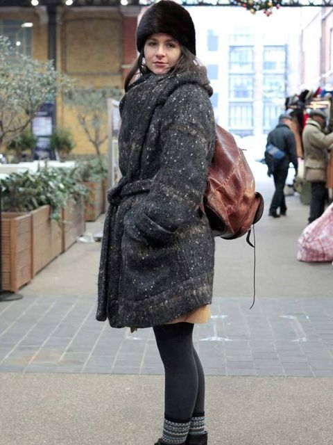 <p>Photo by Silvia Olsen.Titania, 29, Actress. Vintage hat, Vivienne Westwood coat, Tabio socks, ebay bag, Office boots. </p>