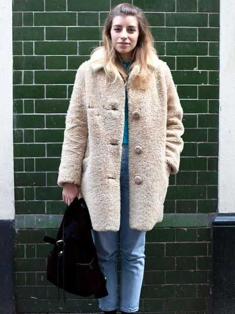 <p>Photo by Kirstin Sinclair.Gemma Tibbles, 27, Junior Fashion Editor. Vintage coat, Wrangler jeans, New Look bag, Birkenstock shoes.</p>