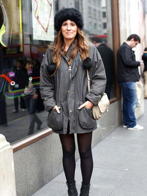 <p>By Chloe Paul.Claire, 28, Creative. Barbour jacket, River Island hat. </p>