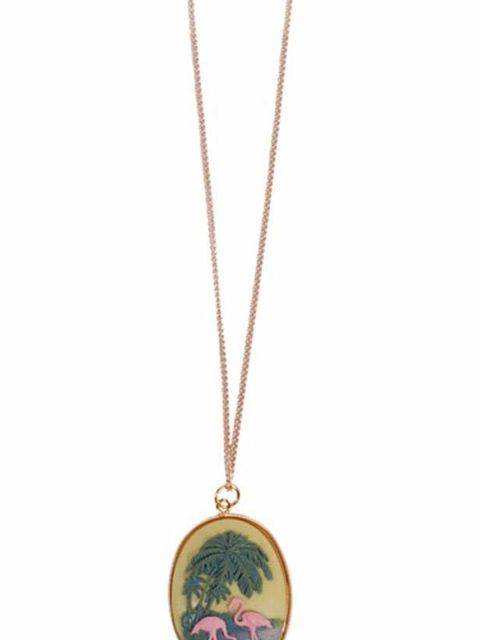 """<p> </p><p>This quirky take on the classic cameo is perfect for adding a hit of kitsch summer colour… Air de Sarah flamingo pendant necklace, £12, at <a href=""""http://www.pretaportobello.com/shop/jewellery/necklaces/air-de-sarah-flamingo-garden-necklace.as"""