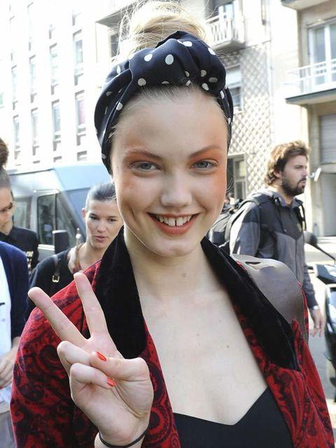 <p>Photo by Imaxtree.Lindsey Wixson, Model. Moschino headscarf. </p>