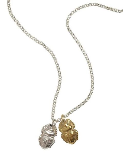 "<p><a href=""http://www.enellelondon.com/necklaces.html?start=9"">Enelle London</a> Scarab beetle necklace, £120</p>"