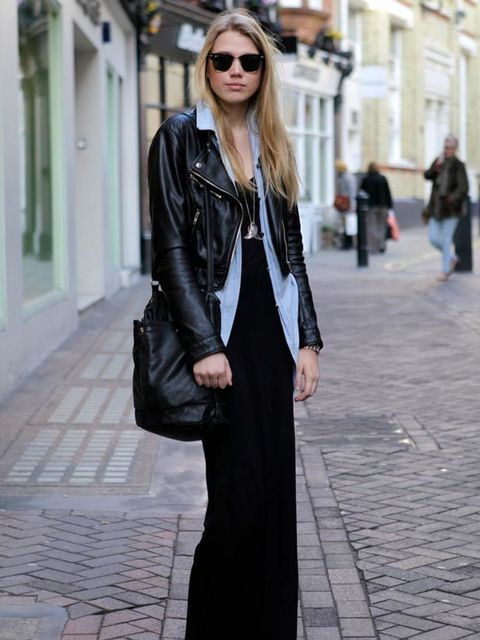 <p>Photo by Silvia Olsen.Sophia, 19, Student. H&M jacket, Topshop dress, dad's shirt, Converse sneakers. </p>