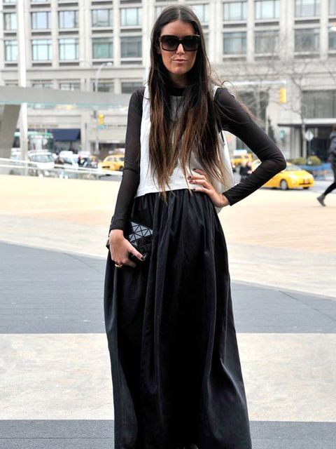 <p>Photo by Kirstin Sinclair @ Anthea Simms.Stef, Communications Consultant. Fredrik Grey top, Reformation skirt, Fendi sunglasses, Nicola Ferretti shoes, Issey Miyake bag, YSL ring.</p>