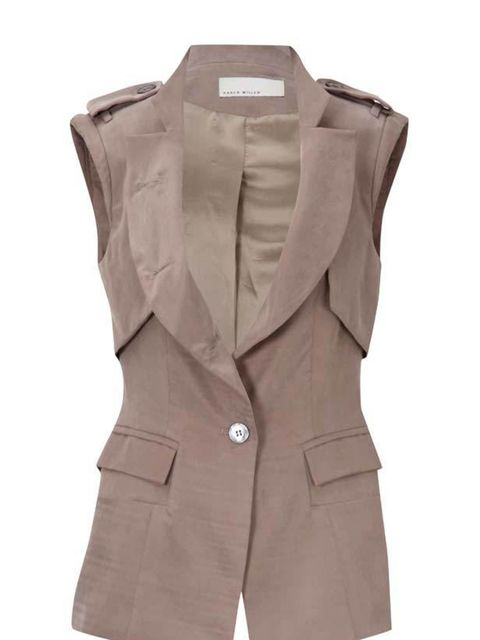 <p>Karen Millen sleeveless jacket, £175, for stockists call 0870 1601830</p>