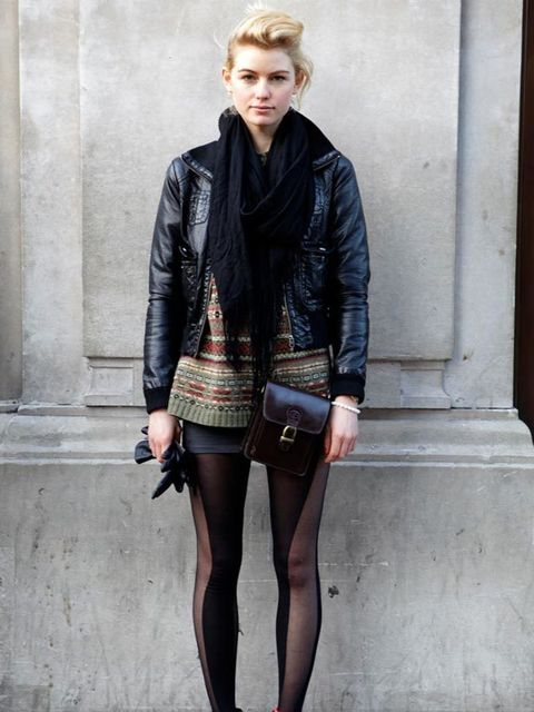 <p>Photo by Kirstin Sinclair @ Anthea Simms.Madeleine, 20, Retail Assistant. Esprit jacket & tights, Rokit top.</p>