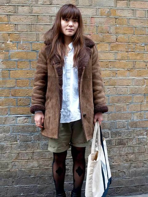 <p>Photo by Silvia Olsen.Sayaka, 25, Fashion Journalist. Vintage coat, Acne shirt, Zara shorts, Tory Burch boots, Henry Holland for Pretty Polly tights. </p>