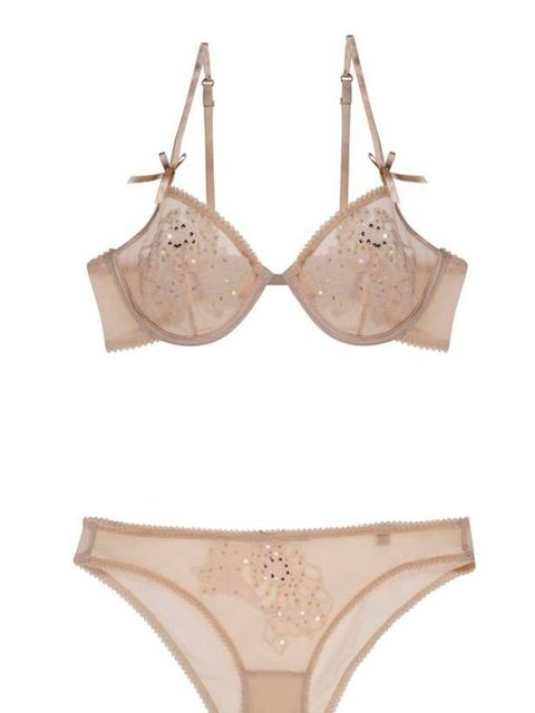 <p>Stella McCartney 'Lucy' sparkling underwire bra, £98, and bikini £46, for stockists call 020 7518 3100 </p>