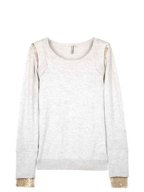"""<p> </p><p>You can never own too many luxe knits and this understatedly chic and versatile style from IRO is our new favourites -its sequin sleeves can be hidden or revealed depending on your look. IRO sequin detail sweater, £176, at <a href=""""http://www.m"""