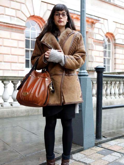 <p> </p><p>Photo by Jessica Weber @ Anthea Simms</p><p>Rebecca Gonsalves, 26, Journalist. Vintage coat, Office shoes, Mulberry bag</p>